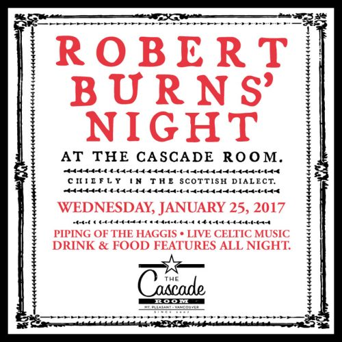 ROBBIE BURNS' NIGHT AT THE CASCADE ROOM